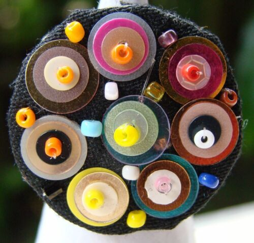 Vintage Multicolor Beads Fashion Adjustable One Size Stretch Ring