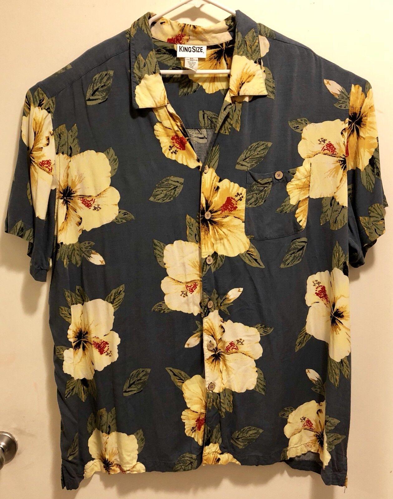 EUC King Size Hawaiian Hibiscus Floral Aloha Camp Shirt Big 4XL