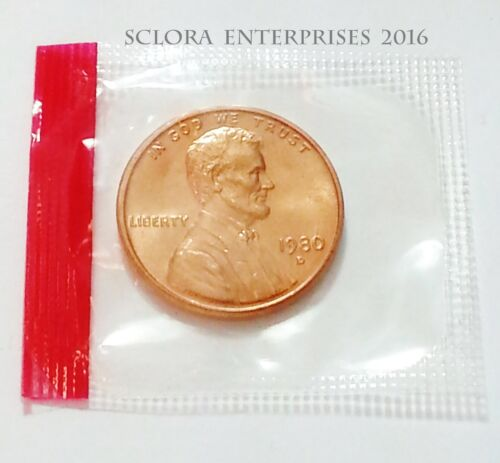1980 P /& D Lincoln Memorial Cent Penny Set *MINT CELLO*  **FREE SHIPPING**