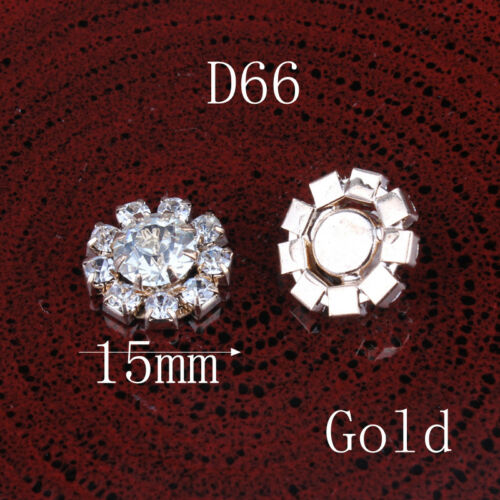 120pcs//lot 15 mm Clair Alliage Cristal Flatback Boutons