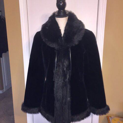 Fur Coat Velvet Og Sz Small In Design Faux Utex YfUqU