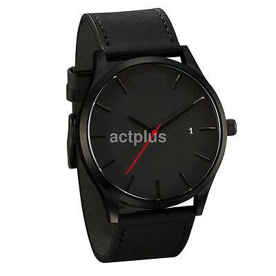 Men's Stainless Steel Leather Sports Watch Analog Quartz Wrist Watches UK