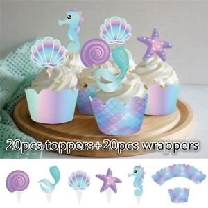 40pcs-Mermaid-Cupcake-Wrapper-Topper-Decors-Kids-Shower-Birthday-Party-Supplies