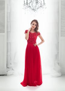 Queen Size S1803 Abendkleid mit Ärmeln Kleid Maxikeldi Rot ...