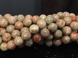 8mm-Epidote-Unakite-Round-Gemstone-Beads-15-5-034-Strand-UK-EBAYER
