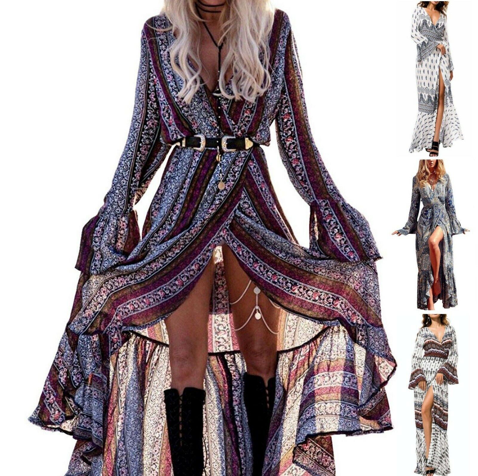 Summer Cardigan Sexy Maxi Long Dress   Long Sleeve  Froral Print   2 day ship