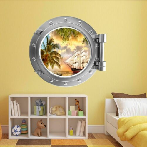 Pirate Ship Treasure Island Porthole Wall Sticker Mural Decal Kids Bedroom BZ32