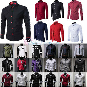 Fashion-Men-039-s-Luxury-Slim-Fit-Casual-Shirts-Long-Sleeve-Formal-Dress-Shirt-Tops