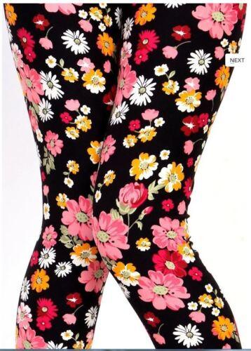 Women/'s Leggings One Size Black Multi Color Floral Print OS 2-12 Soft