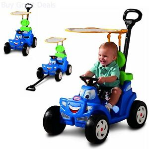 NEW! Kids Outdoor Cozy Roadster Little Tikes Deluxe 2-in-1 Ride Horn Push/Pull