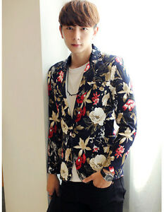 Men-039-s-Chic-Floral-Print-Slim-Fit-Party-Vacation-Casual-Suit-Blazer-Jacket-Coat