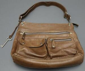 Fossil Large Soft Brown Pebbled Leather Bucket Crossbody Tote Handbag Purse
