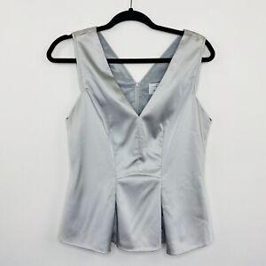 Veronika-Maine-Womens-Blouse-Top-Metallic-Silver-Satin-Short-Sleeve-Size-10