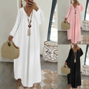 Mode-Femme-Robe-Coton-Manche-longue-Couture-de-dentelle-Col-V-Casuel-Loose-Plus