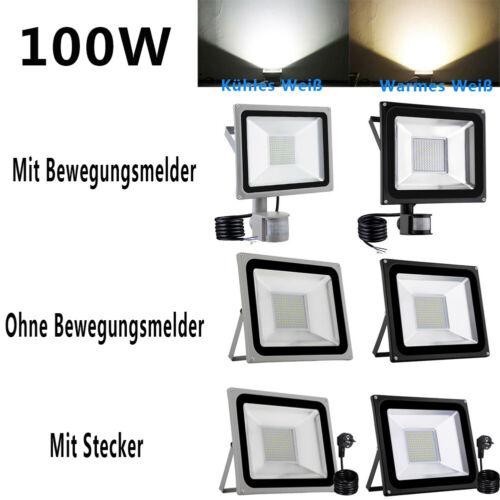 10W-1000W LED Fluter mit Bewegungsmelder mit Stecker Außen Strahler Flutlicht DE