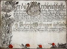c1725 Jagd Hunting Lobkowitz Böhmen Bohemia Kalligraphie Original Jagd-Diplom