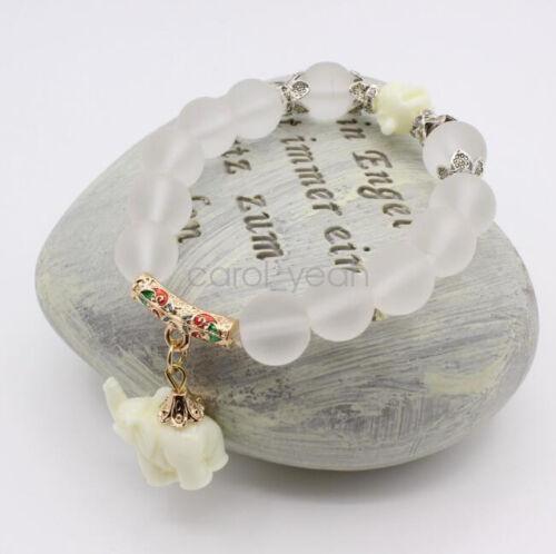 12 mm transparent clair oeil de chat de perles éléphant Pendentif élastique bracelet charme