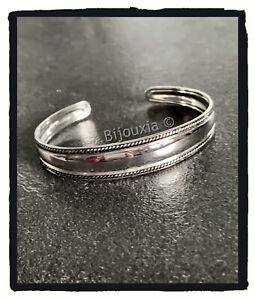 Bracelet Jonc Rigide Ouvert Argent Massif Vieilli 925//1000 Bijoux Femme