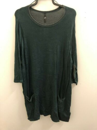 Ex Evans Plus Size Cotton Blend Green Tunic with Front Pockets Size 22-24