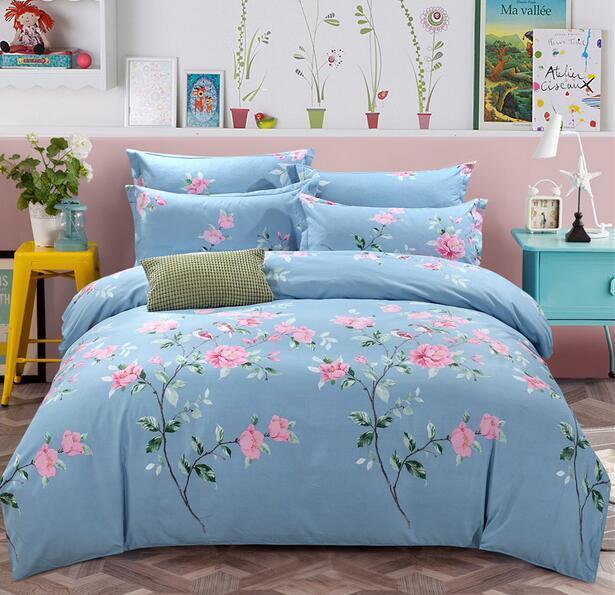 4pcs Floral Bed Sets Cotton Comfort Home Bedroom Duvet Cover Sheet Pillowcase E2