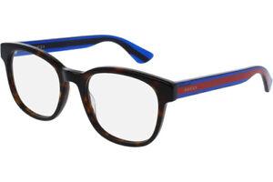 10cc1f9828a8 NEW GUCCI Mens Havana Blue Transparent Stripe Eye Glasses Frame GG ...