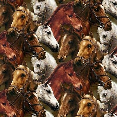 Fat Quarter Pony Up Red Horses Spots Cotton Quilting Sewing Fabric