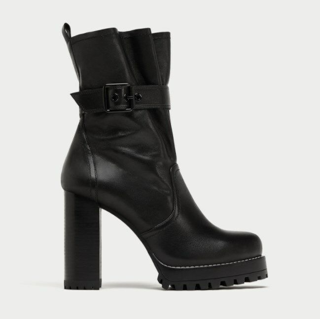 ZARA STUDIO WITH NEW LEATHER HIGH HEEL ANKLE Stiefel WITH STUDIO BUCKLE 5135/201 4863df
