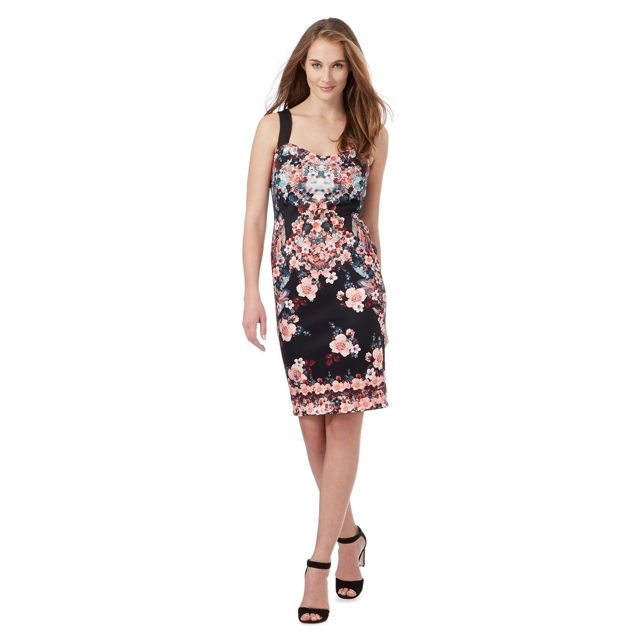 Star Julien Macdonald Floral Print Scuba Dress Größe UK 12 rrp  LF075 FF 12