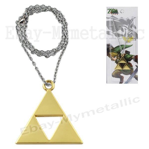 The Legend of Zelda Golden Power Triforce LOGO Pendant Necklace Gold #01