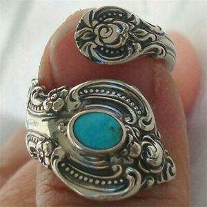 Vintage-Native-American-Indian-Jewelry-Silver-Turquoise-Open-Ring-Adjustable-NEW