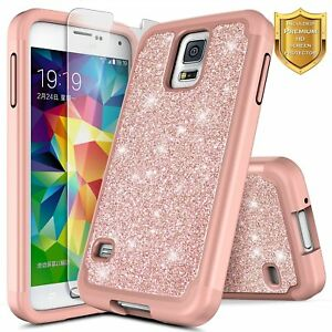 For-Samsung-Galaxy-S5-Case-Glitter-Bling-Slim-Hybrid-Cover-Screen-Protector
