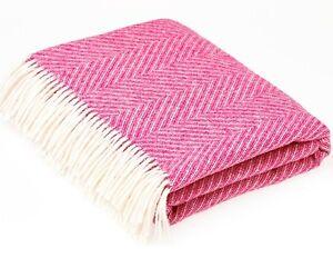 Image Is Loading Bronte Herringbone Bright Pink Throw Cerise Pure New
