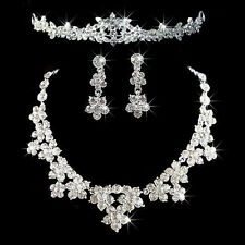 New Wedding Bridal Party Jewelry Set Crystal Rhinestone Tiara Necklace Earrings