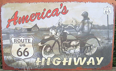 America's Highway Route 66 TIN SIGN metal vtg retro garage motorcycle bike OHW