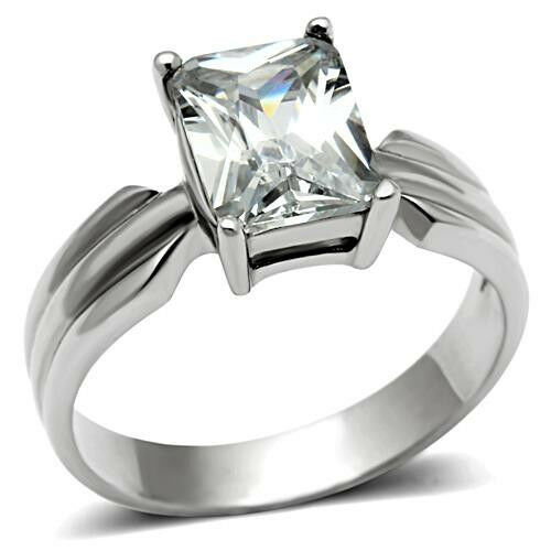 Engagement Ring Emerald Radiant Cut Clear CZ 3.25 CTW Shape Stainless Steel