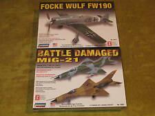 Battle-Damaged MiG-21+Focke Wulf FW190 NEW Lindberg model airplane kits level 2