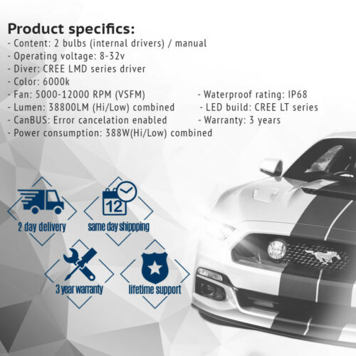 Mini Pair H4 9003 HB2 72W 48800LM Car LED Headlight Bulb Cree COB kit 6K White