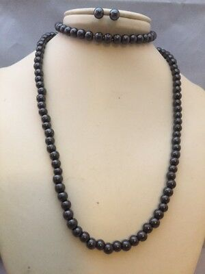 Magnetic Hematite Necklace 6mm Beads Healing Pain Focus Willpower Trust AUS SELL