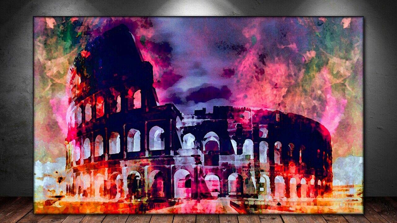 LEINWAND BILD ER XXL POP Kunst KOLOSSEUM ROM ITALIEN ABSTRAKT BUNT WAND POSTER
