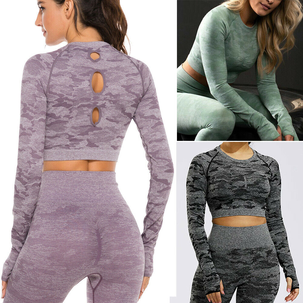 Womens SeamlessT-Shirts long Sleeve Yoga Gym Workout Clothes Stretch Crop Tops