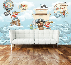 3D Cartoon Pirate Ship Paper Wall Print Wall Decal Wall Deco Indoor Murals
