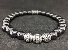 Hämatit Hematit Armband Bracelet Perlenarmband Silber Beads