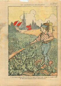 """Caricature Politique Poilu Sauterelles Bolcheviks Lance-Flamme 1919 ILLUSTRATION - France - Commentaires du vendeur : """"OCCASION"""" - France"""