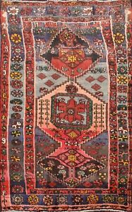 Vintage-Geometric-Hamedan-Hand-knotted-Area-Rug-Home-Decor-Oriental-Carpet-4-039-x6-039