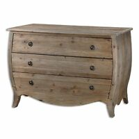 Curved Bowed Bombe Shaped Entry Chest | Solid Wood Hall Drawers Distressed Pine