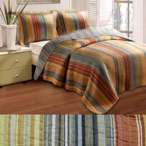 BEAUTIFUL MODERN REVERSIBLE Blau rot braun Orange Grün QUILT SET KING OR QUEEN