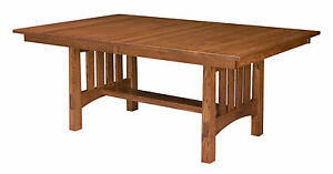 Amish Mission Craftsman Trestle Dining Table Modesto Extendable