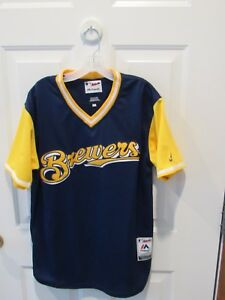 premium selection 7bea4 c9ffe Details about Milwaukee Brewers MLB Baseball Jersey Size adult small  Majestic blue yellow VGC