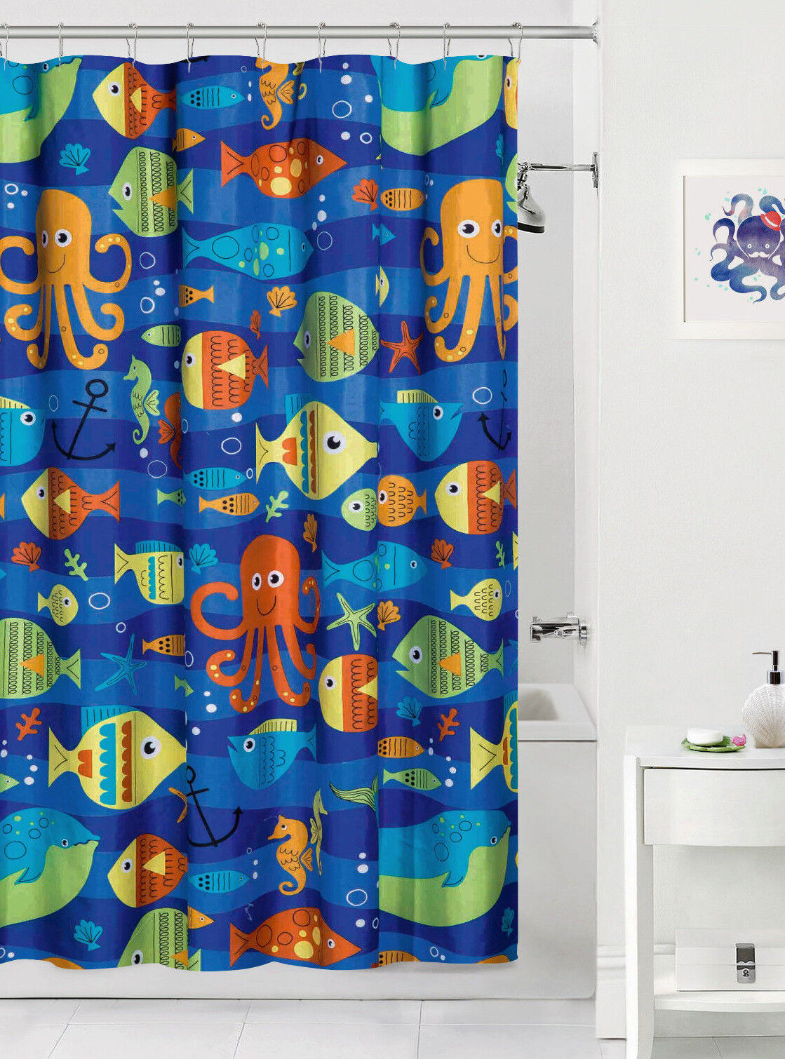 Sealife Colorful Ocean Fish Fabric Shower Curtain Bath Kids Child Octopus Decor