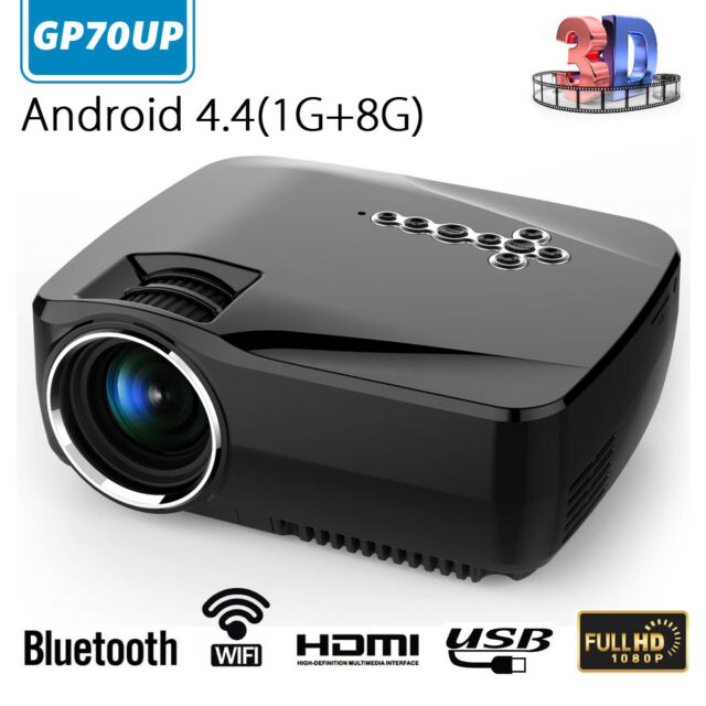☆ Full 1080P HD Lumens LED Projector Bluetooth WiFi Android4.4 Home Theater